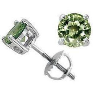 Women Earring White Solitaire Round Green Sapphire